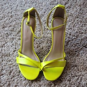 Neon strappy high heels sandals size 6-EXPRESS